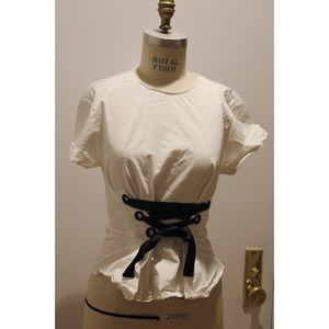 Poplin top with corset detail